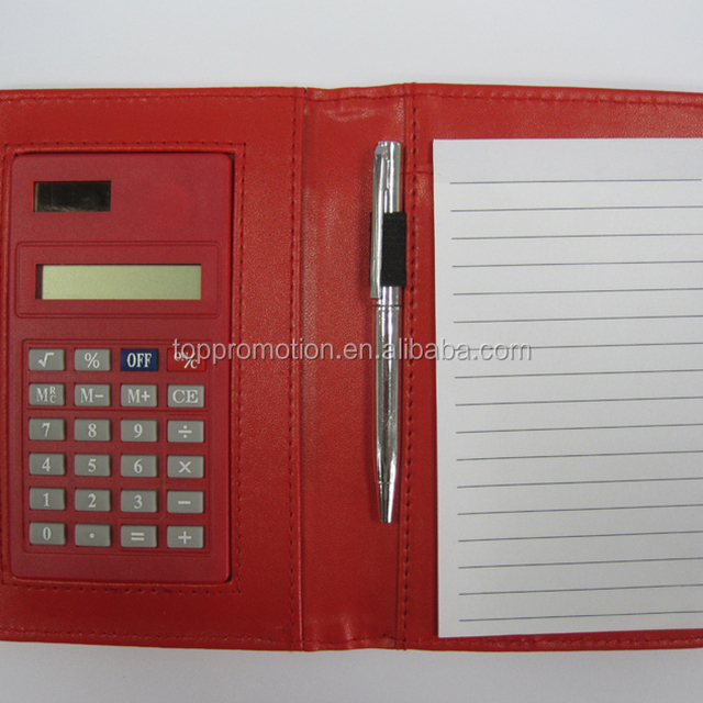 pu pocket notepad calculator with pen