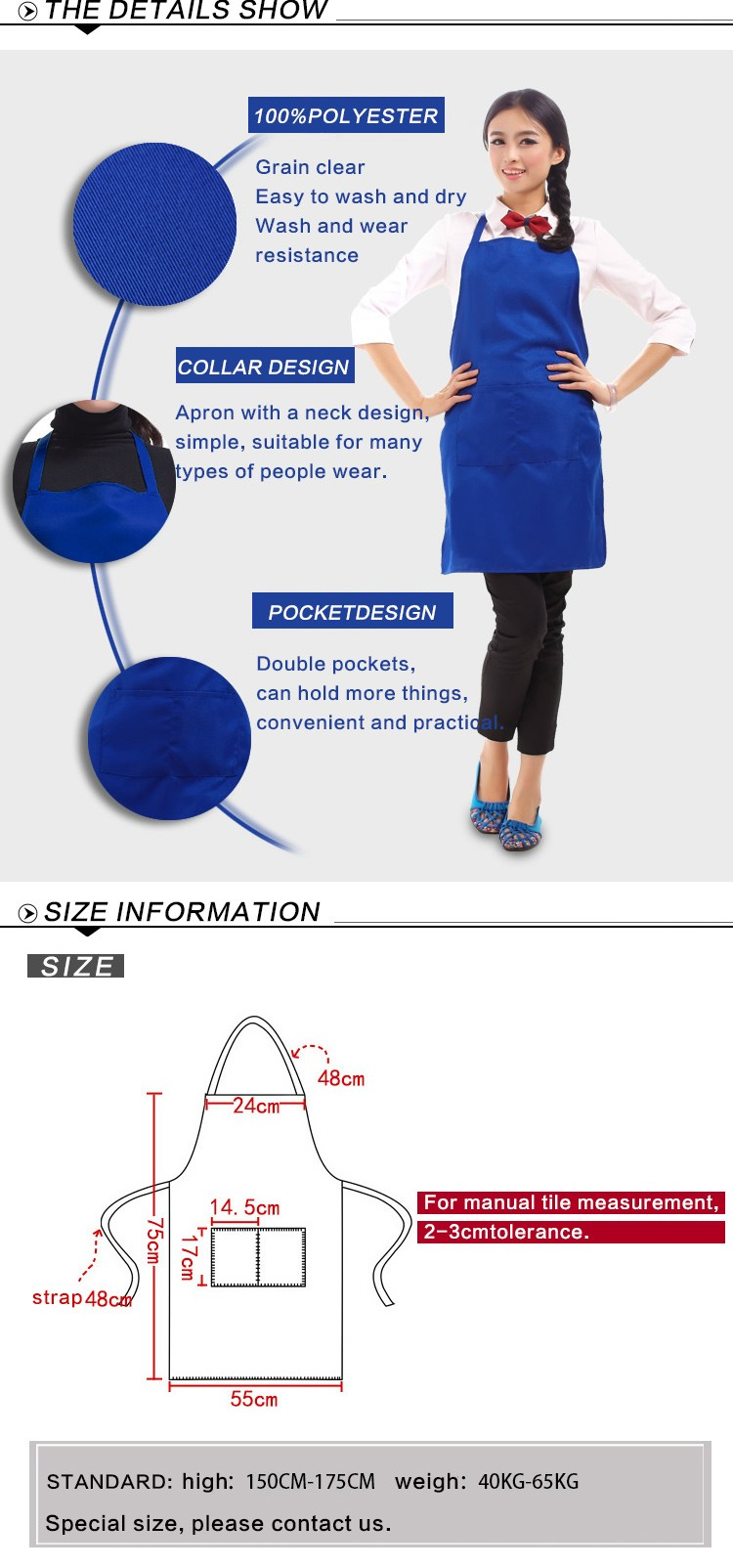 Factory price Black blue Kitchen apron Woman and Man Cooking Restaurant Waiter Apron Black blue Polyester Custom Print Logo Gift