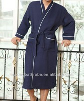 mens' 100% cotton waffle bathrobes for hotel