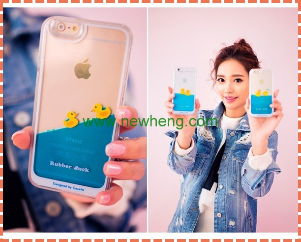 New Arrival Clear Plastic Liquid Flowing Yellow Rubber Duck case For Iphone 6s