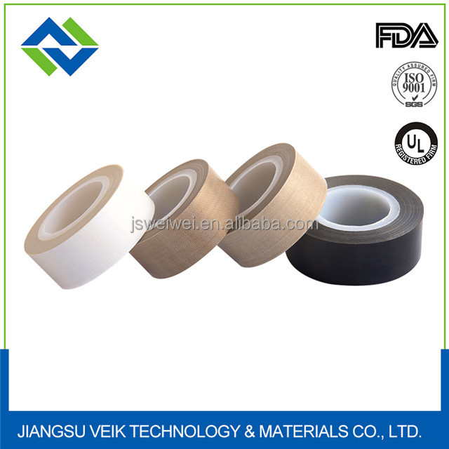 high quality 0.20mm thinckness brown Single Sided Adhesive Side PTFE Teflon Fabric Tape for sheet roll