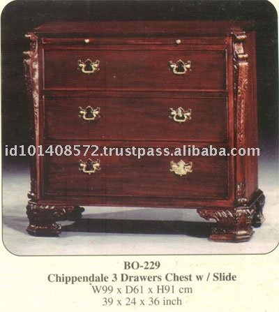 Chippendale 3 Drawers Chest with Slide Mahogany Indoor Furniture