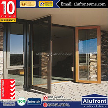 modern design aluminum clad wood glass hinged door/swing door