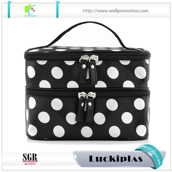 Canvas makeup bag custom two layers canvas cosmetic bag with mirror