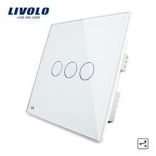 White Crystal Glass Panel VL-C303S-61 3 Gangs 2 Way Home Touch Screen Sensitive Light UK <strong>Switch</strong> With LED Indicator