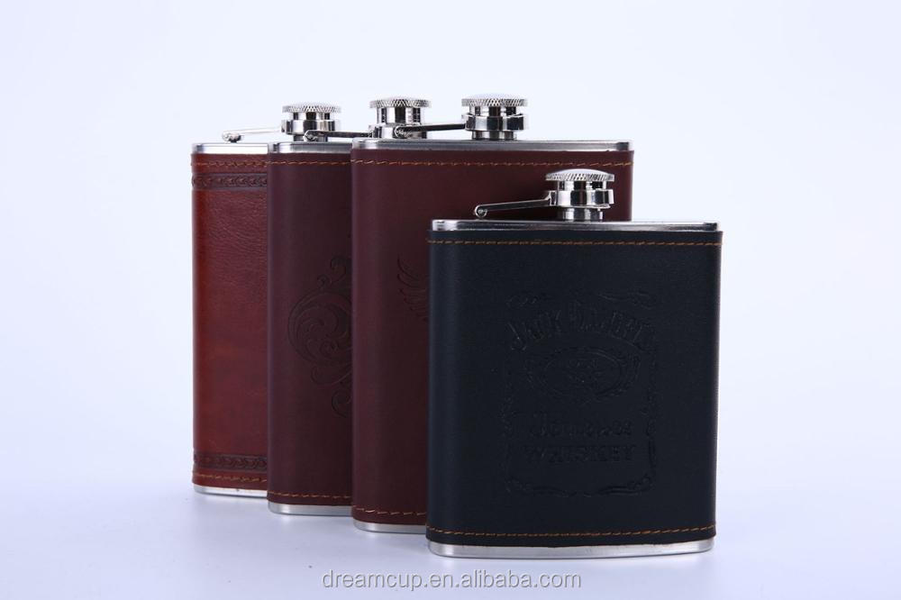 6oz Mini Stainless Steel Hip Flask With USA flag leather