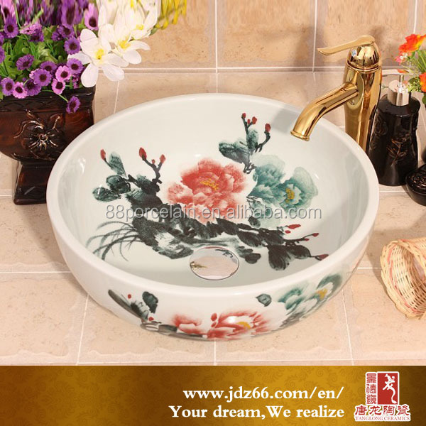 Beautiful hand painted water and ink feeling porcelain relief art bathroom vessel sink for home decoration