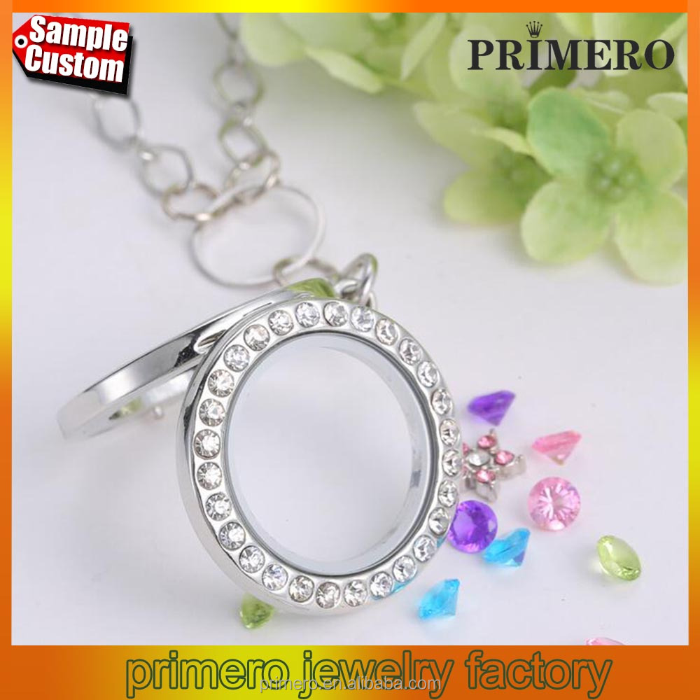 Crystal Glass Locket Necklace Floating Charms Mirror Locket Pendant