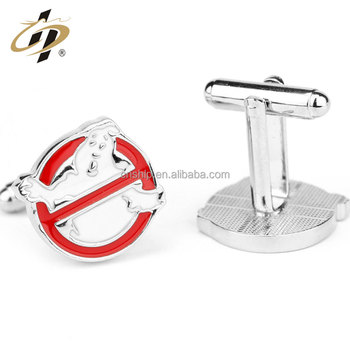 Fashion custom silver plating ghost busters shape souvenir gift cufflinks for men