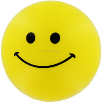 Yellow color pu smiley stress ball