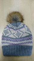 GIRLS' WINTER KNITTED HAT WITH POMPOM