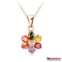 Fashion Necklace Multi Color Austrian Crystal Flower Necklace Real 18K Rose Gold Plated Flower Pendant Chain Necklace NL0271-A