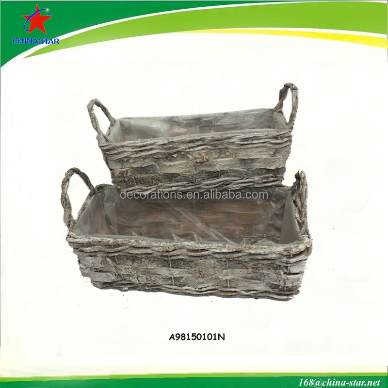 plastic lined rattan flower planter