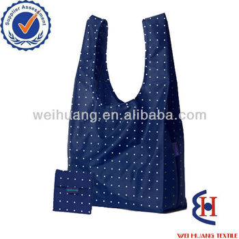 fashionable style reusable folding shopping bag with built in pouch