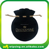 Custom round black velvet jewelry bag with gold logo hot stamped