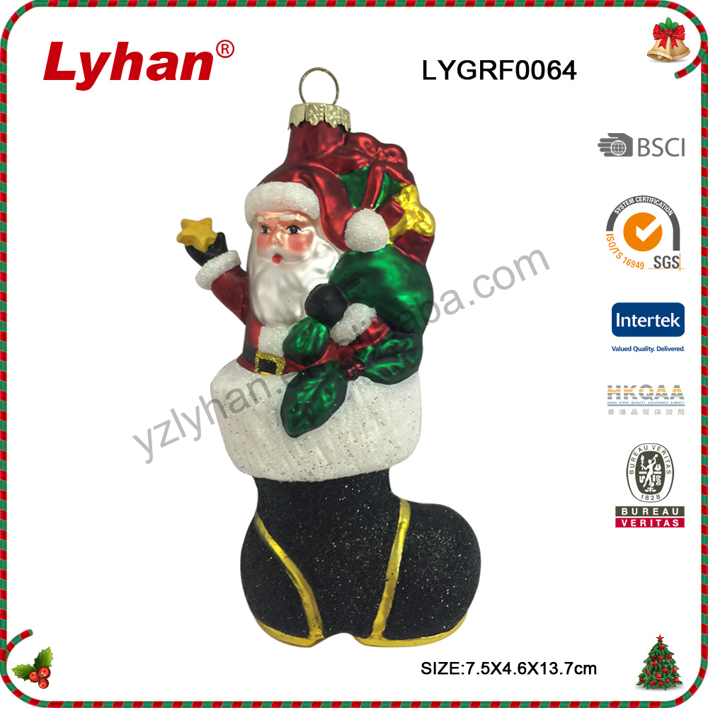 Lyhan Christmas santa with gifts wear the shoes for 2017 Christmas Tree Decoration