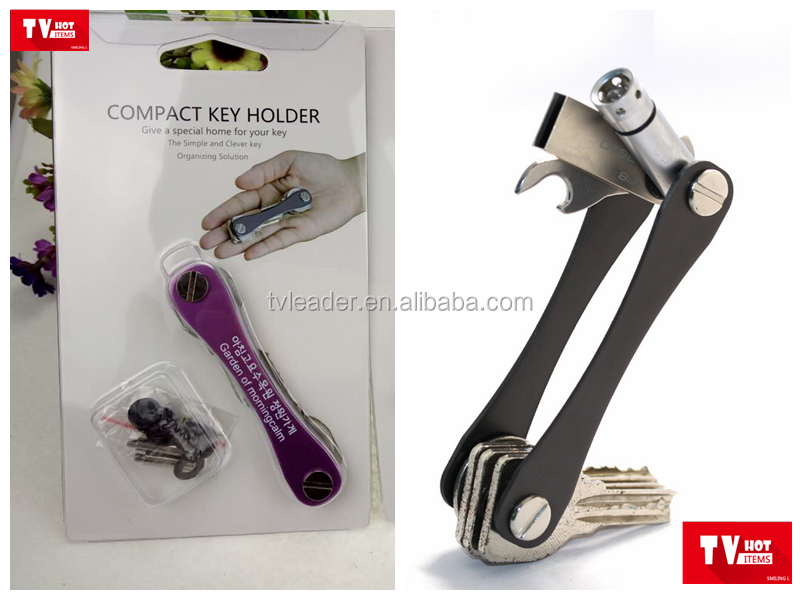 Korea hot key holder compact organizer key chain holder with bottle opener and LED light