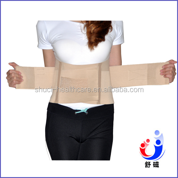 Made in China Back Waist Support Lumbar Brace with Two Reinforcing Belt Adjustable Waist Trimmer Belt (YW-01E)