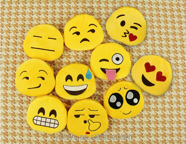 Funny plush emoji wallet, mini coin purse,plush soft stuffed emoji wallet custom emoji plush toys