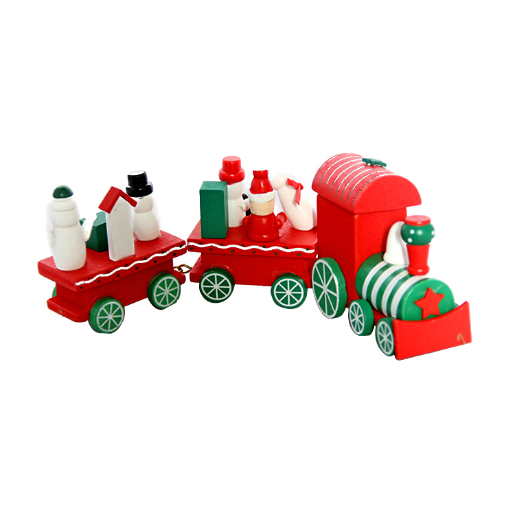 FQ brand wood material colorful 3 train set toy ornaments sale online cheap christmas decorations