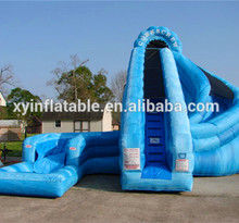 Customize blue inflatable curve wave slide for sale