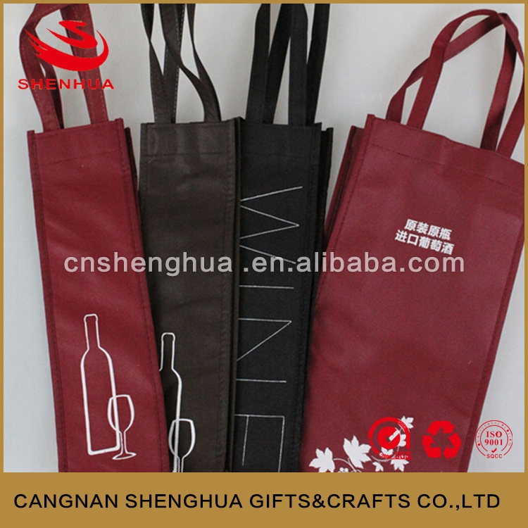 Most popular wine tote bags/non woven wine tote bags/wine handle shopping tote bags