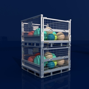 Folding Wire Mesh Pallet Storage Cage with wheels