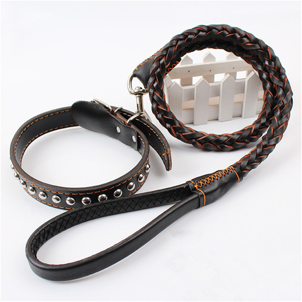 Real Leather Durable Pet Leads Large Dog Collar and Leash