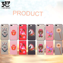 Phone Case Embroidery Pattern for iphone X,Hybrid Leather Lagging Silica Gel 3D Embroidered Case for iphone 8plus
