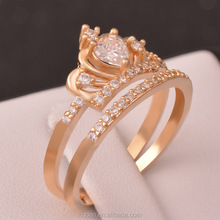 2015 Silver Rose Gold Heart Crown Ring jewelry wholesale Zircon Drop creative personality Ring