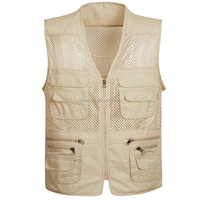 Summer Men's Breathable Mesh Outdoor Vest for Hunting Fishing Sleeveless Jackets Tactical Waistcoat Plus Size with Pockets