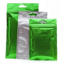 Clear Front Silver Inside Green Back Flat Foil Mylar Zip Lock Bags