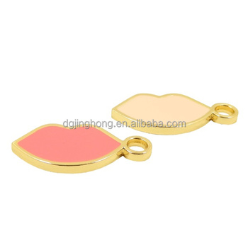promotional lips enamel metal tag