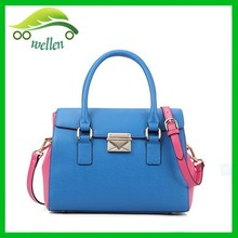 Wellen bags of triangle metal push lock handbags contrast color leather tote