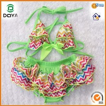 2014 Ombre Strip Summer Sexy Baby Girls Bikini Two Piece Baby Girls Swimwear