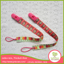 Top quality polyester material leash, rubber band plastic/metal nipple pacifier clips