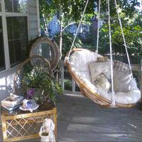Indoor Outdoor Balcony Backyard Sitting Natural Rattan Cane Wood Wicker Hanging Papasan Mamasan Radar Chair