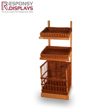high end multifunction display wooden basket display shelf for vegetable and fruit