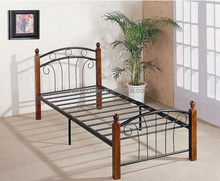 Twin size metal platform bed frame with wood post
