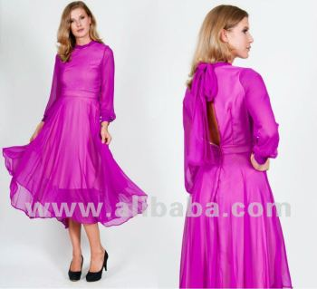 Elegant Chiffon Long Sleeve Dress