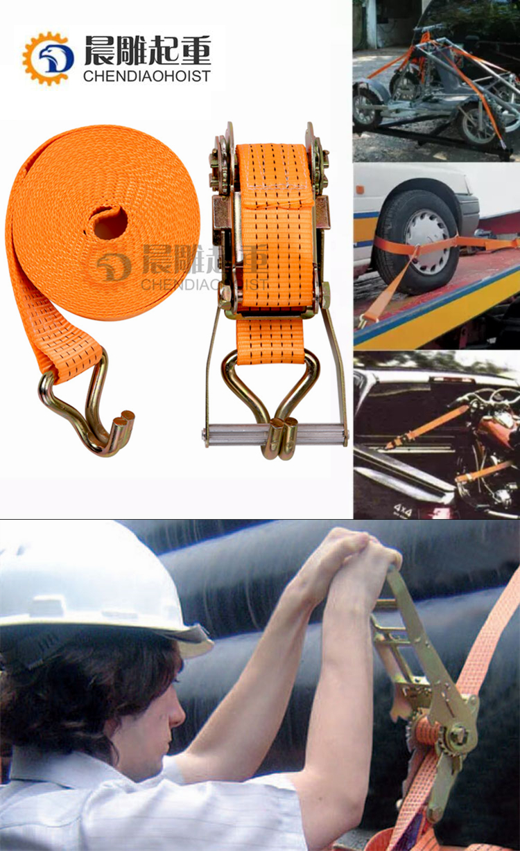 CE certificate 2 inch 30' 40' 50' Feet Cargo lashing belt with double J hook