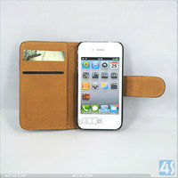 new products 2013 leather flip open case for iphone 4/4s P-iPHN4SCASE032