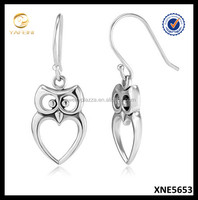 925 Sterling Silver Owl Cut-Out Heart Dangle Hook Earrings, Oxidized Silver Jewelry