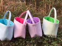 DeMi 094 wholesale easter eggs basket Baby Gift Tote Toy Storage seersucker bucket