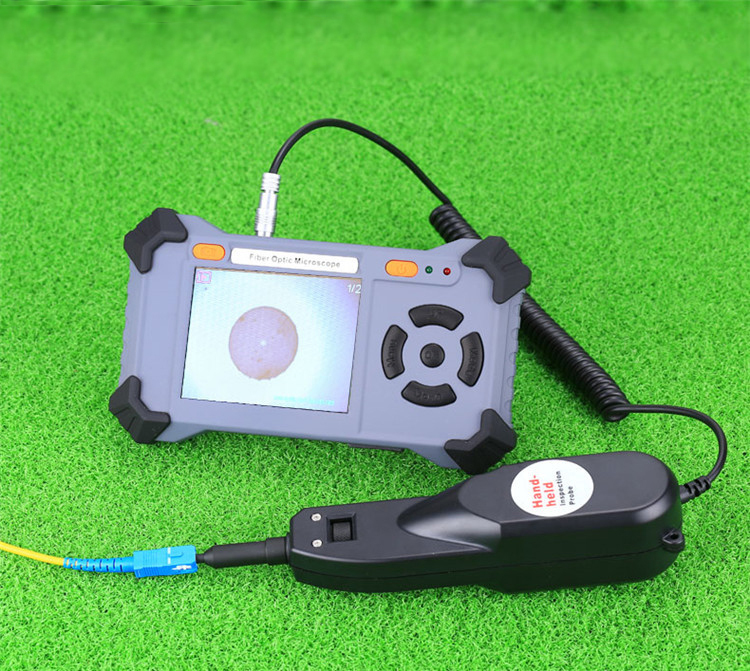 Handheld Video Optical Fiber Connector Inspection Probe with Cleaning Tool Kits