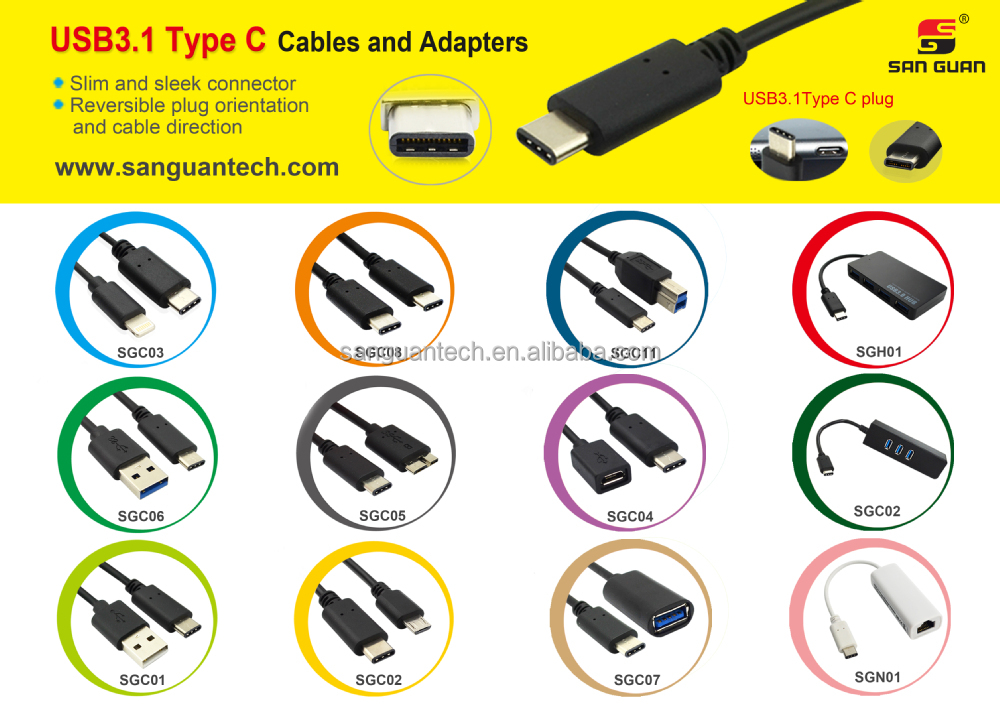 USB 3.1 Type C Reversible (USB-C) to Standard 2.0 Type A Male Sync & Charging Cable