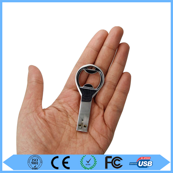 Hot sale metal key shape bottle opener usb stick with free logo