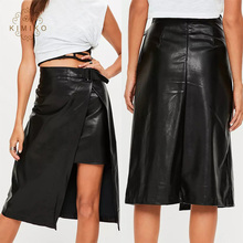 Cool Girls Split Midi skirt Sexy Black Leather Skirt