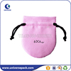 Customized logo round shaped pink drawstring suede pouch for ring