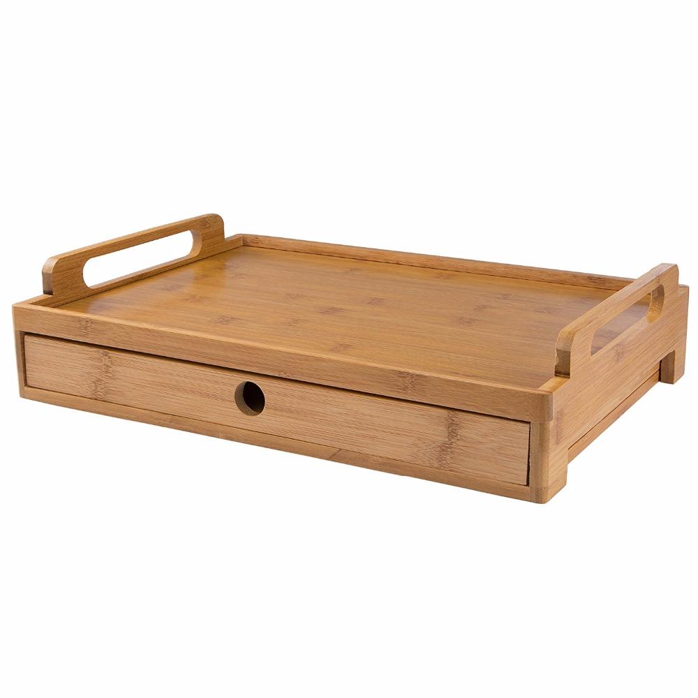 Classic Bamboo food Serving Tray with a stroage drawer for tissue , cutlery , spice